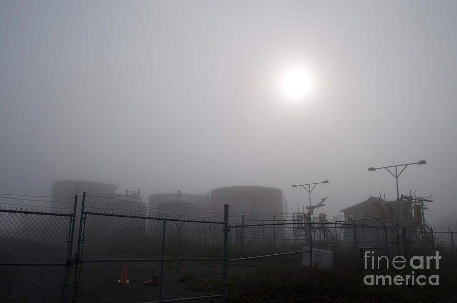 Industrial Photograph - Tanks At Petrocor In The Fog by Gary Chapple