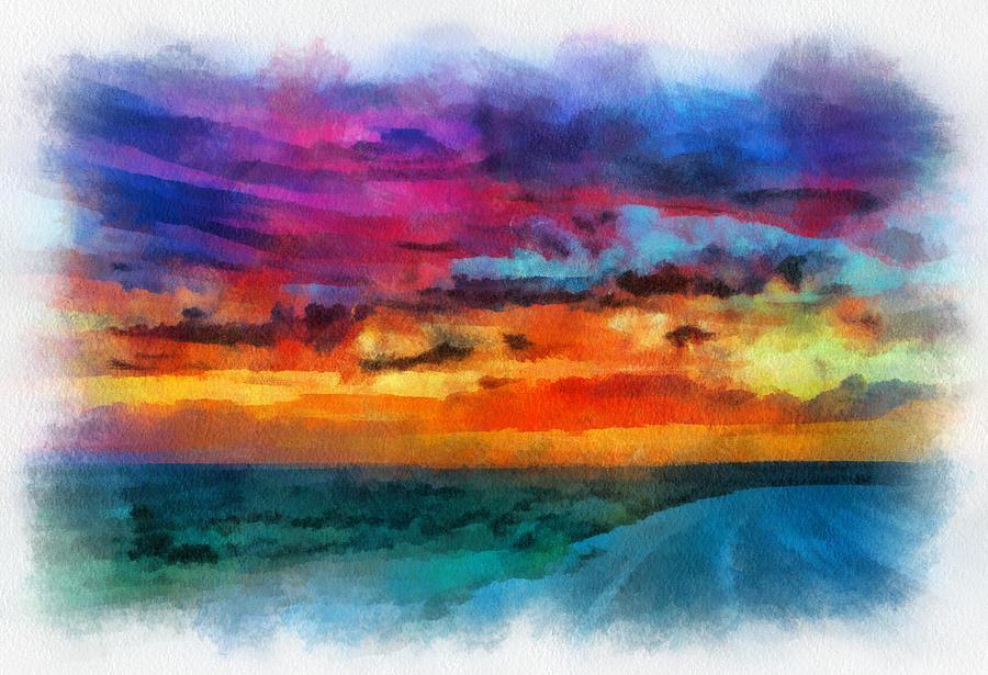Santa Digital Art - Taos Sunset Iv Watercolor by Charles Muhle