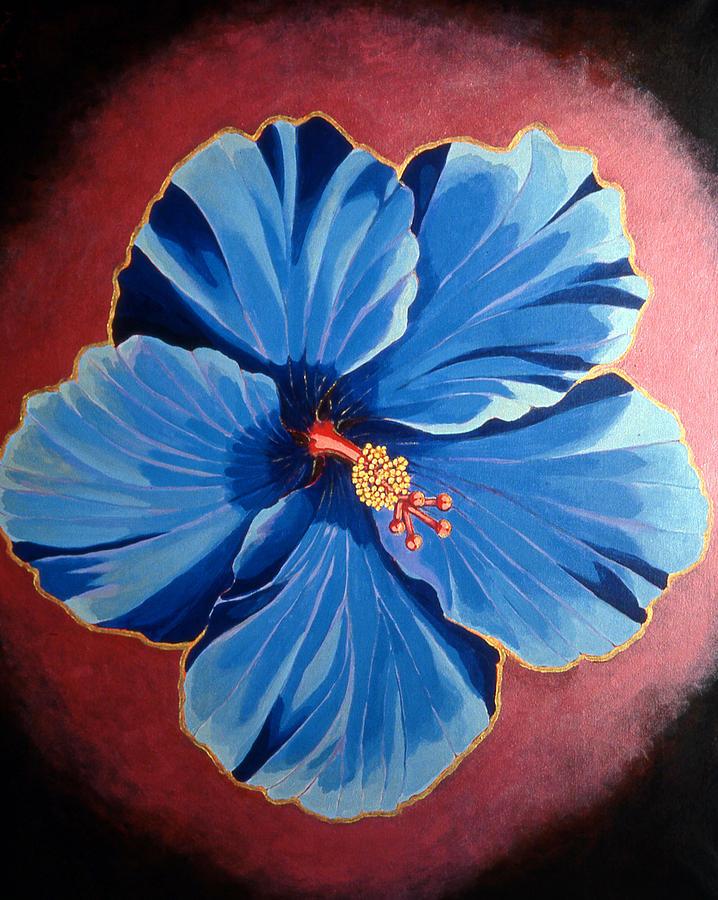 Blue Hibiscus Flower Painting - Tara by Kyra Belan