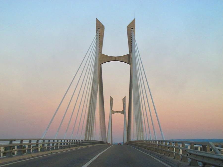 Horizontal Photograph - Tarascon-beaucaire Bridge At Dusk by Michael Grabois