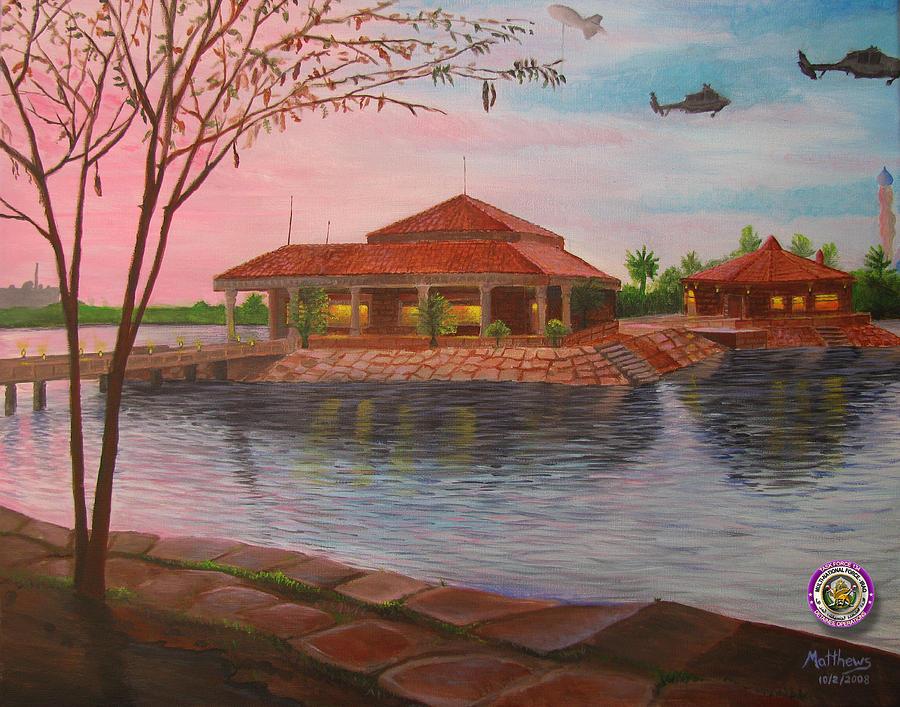 Iraq Painting - Task Force 134 Headquarters by Michael Matthews
