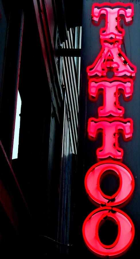 Neon Photograph - Tattoo Granville by Randall Weidner