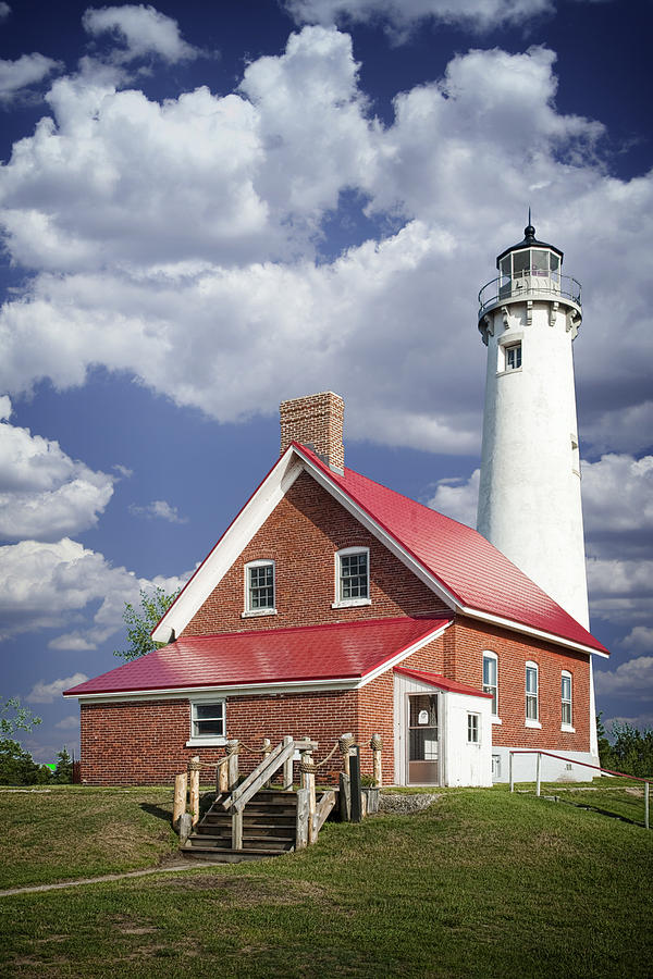 Landscape Photograph - Tawas Point Lighthouse In Michigan Number 0007 by Randall Nyhof