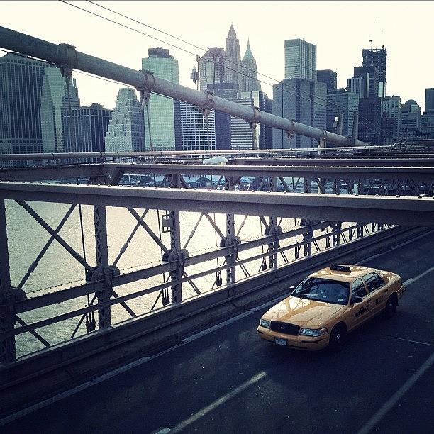 Summer Photograph - Taxi On Bridge by Randy Lemoine
