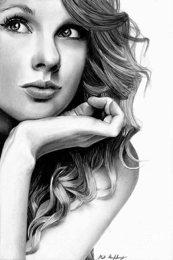Taylor swift pencil drawing drawing by michael gaffney