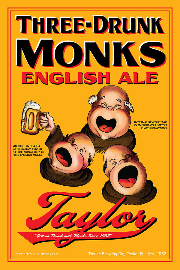 Monks Drawing - Taylor Three Drunk Monks by John OBrien