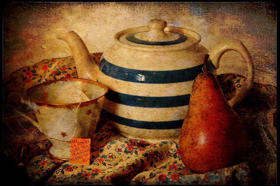Tea Photograph - Tea And Pear by Toni Hopper