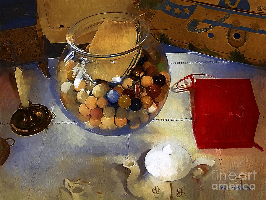 Antiques Painting - Tea And Toys by RC DeWinter