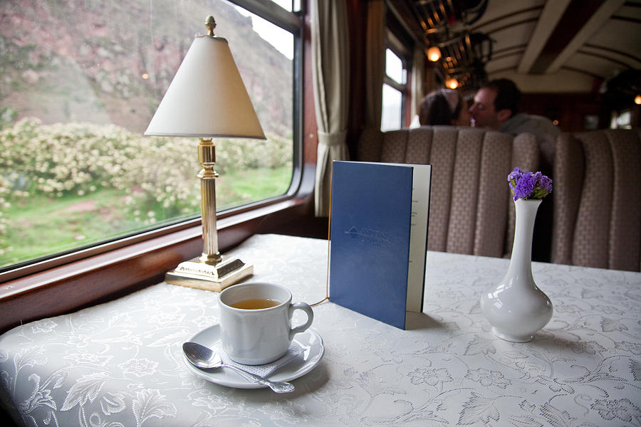 Color Image Photograph - Tea Is Served By Peru Rail On The Way by Michael &Amp Jennifer Lewis
