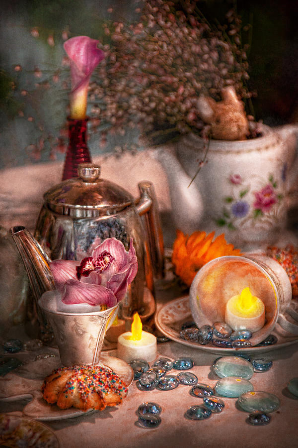 Tea Photograph - Tea Party - I Would Love To Have Some Tea  by Mike Savad
