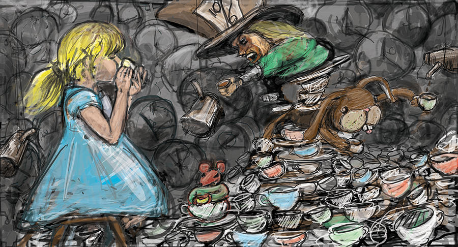 Alice In Wonderland Digital Art - Tea Party by Eric Atkisson