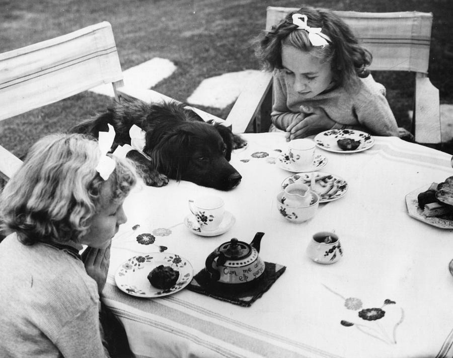 Child Photograph - Tea Party by Fox Photos