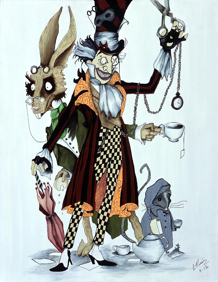 Alice In Wounderland.mad Hatter Painting - Tea Time by Leeann Stumpf