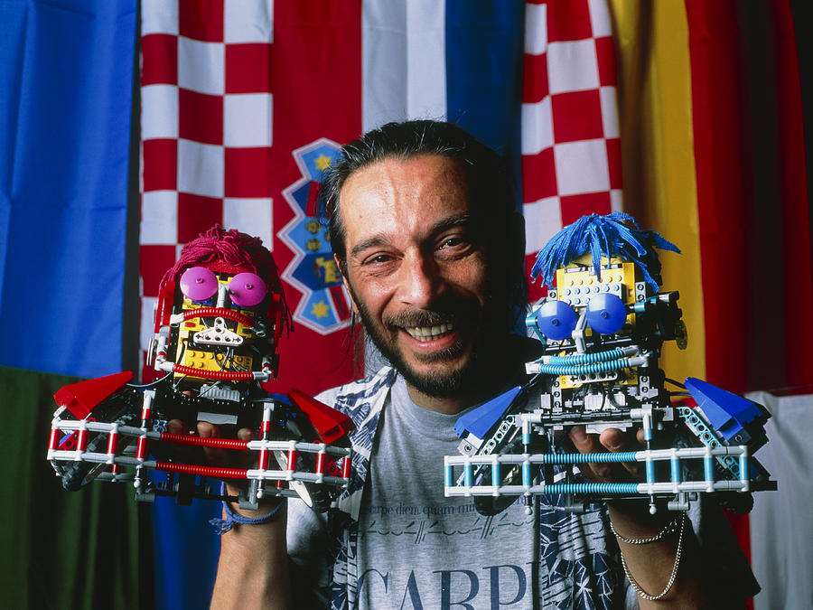 Robot Football Photograph - Technician With Lego Footballers At Robocup-98 by Volker Steger