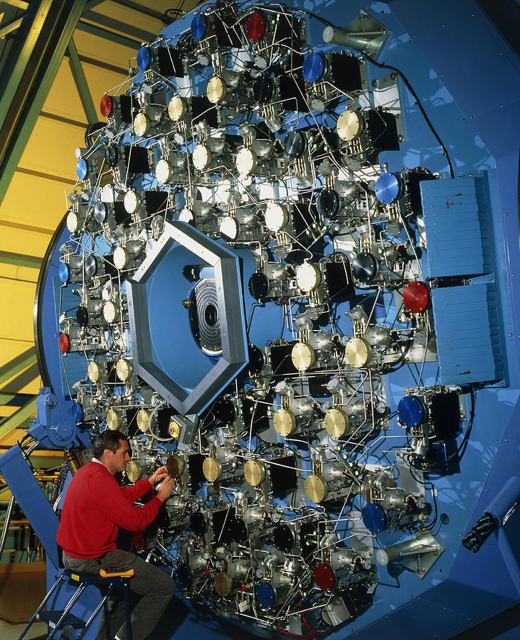 Adaptive Optic Photograph - Technician With The Wiyn Telescopes Active Optics by David Parker