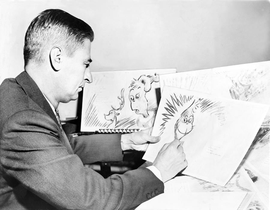 History Photograph - Ted Geisel Dr. Seuss 1904-1991 At Work by Everett