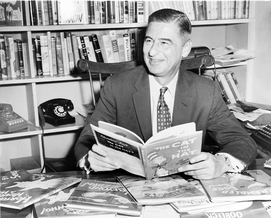 History Photograph - Ted Geisel Dr. Seuss 1904-1991 Seated by Everett