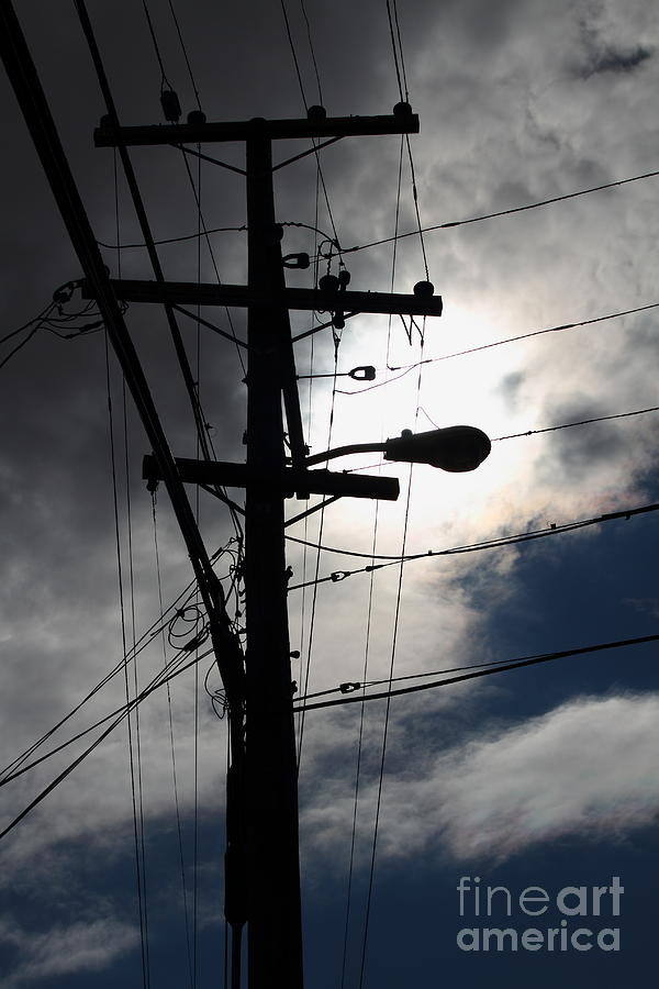 Telephone And Electric Wires And Pole In Abstract Silhouette ...