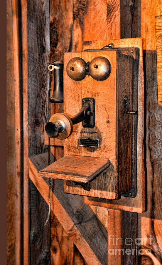 Antique Wood Wall Telephone Photograph - Telephone - Antique Hand Cranked Phone by Paul Ward