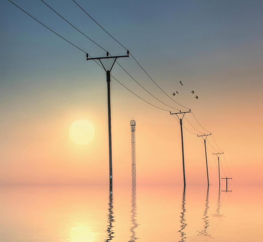 Horizontal Photograph - Telephone Post At Sunset by Kurtmartin