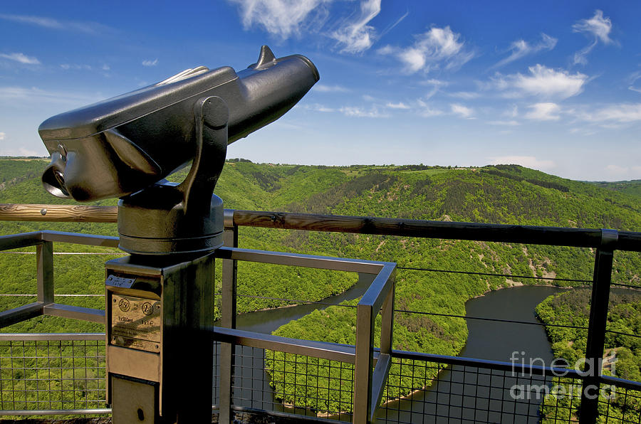 Tourism Photograph - Telescope With View On Meander Of Queuille. Auvergne. France. Europe by Bernard Jaubert