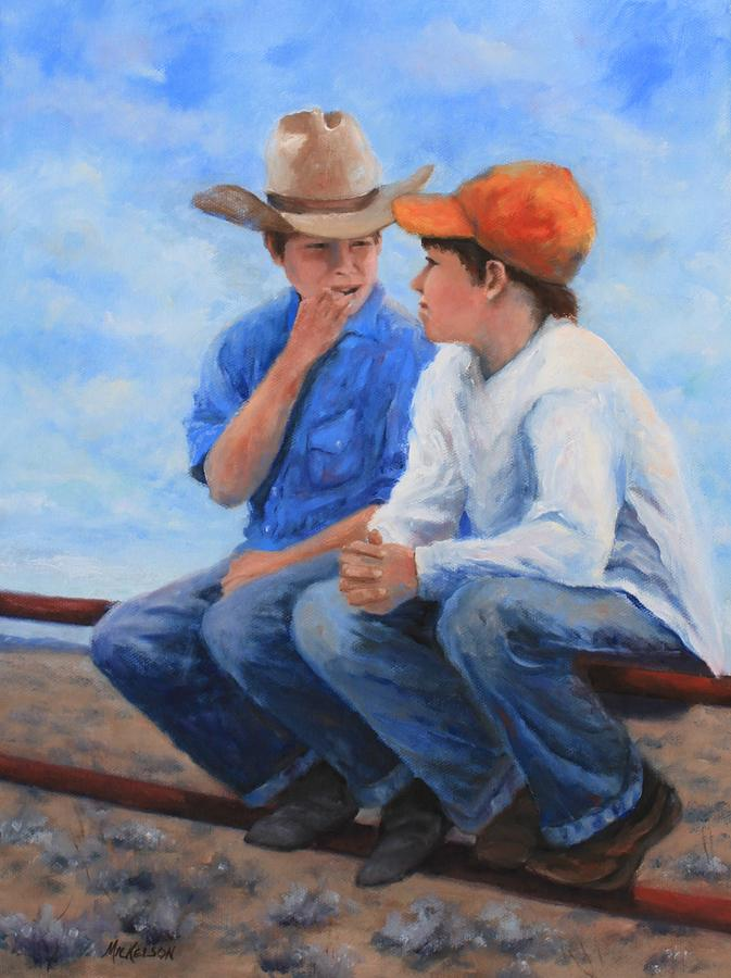 Western Painting - Tellin Secrets by Debra Mickelson