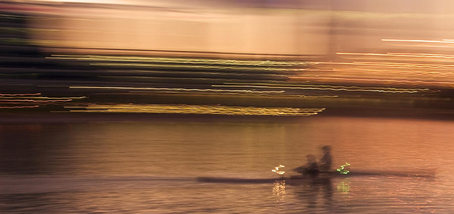 Golden Photograph - Tempe Town Lake Rowers Abstract by Dave Dilli