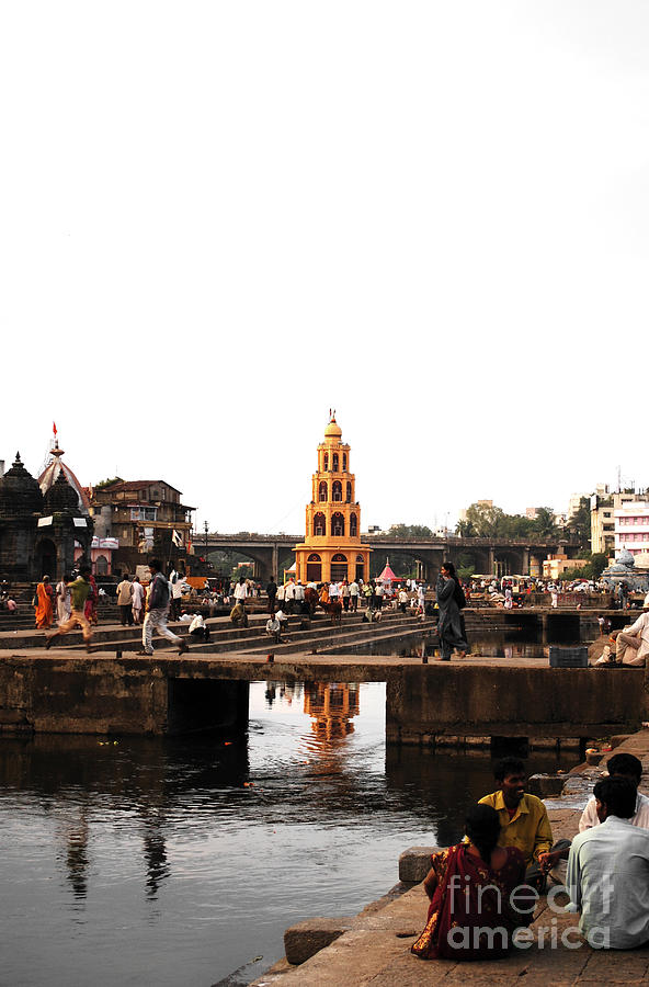 Village Photograph - temple and the river in India by Sumit Mehndiratta