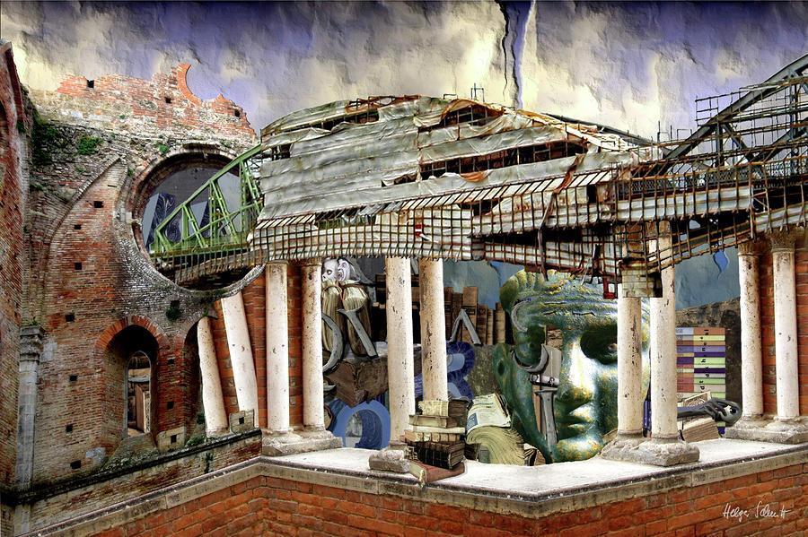 Surreal Digital Art - Temple Of Muses 2000 by Helga Schmitt