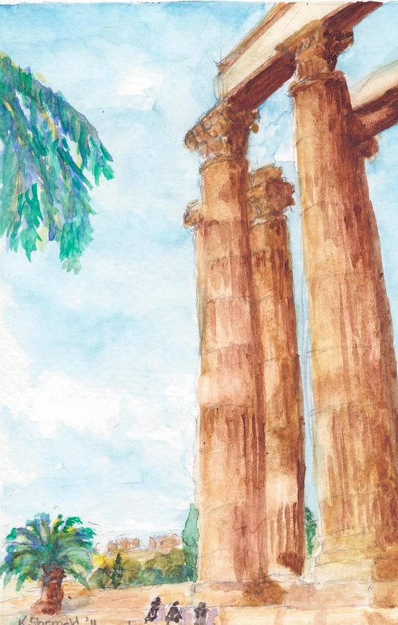Zeus Painting - Temple Of Zeus In Athens Greece by Katherine Shemeld