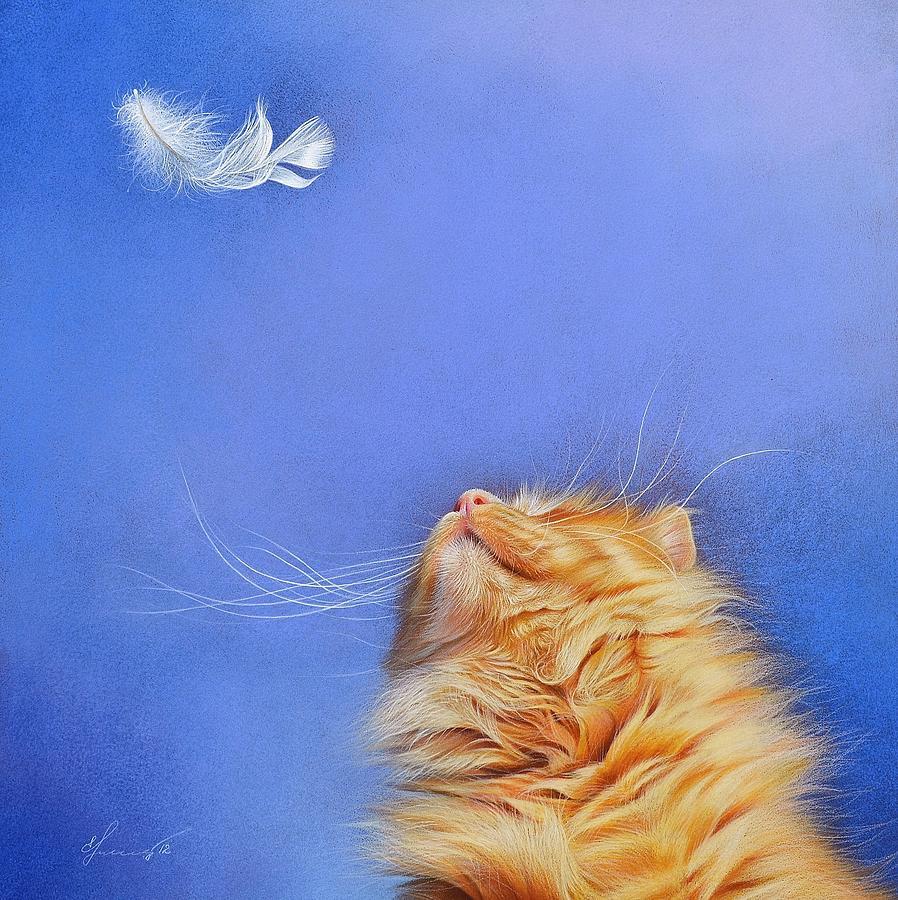 Cat Drawing - Temptation by Elena Kolotusha