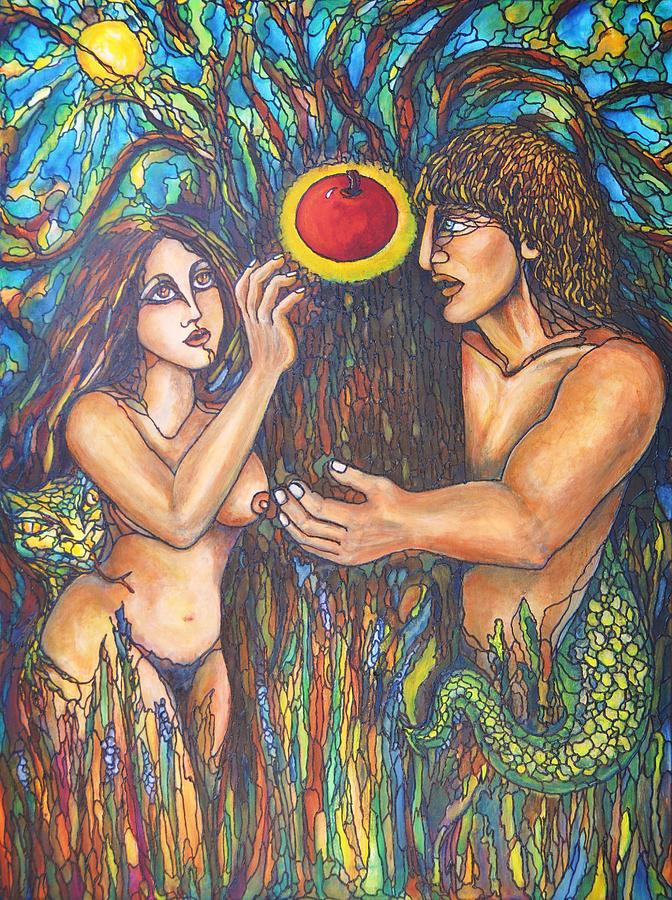 Adam And Eve Painting - Temptation Of Adam And Eve  by Rae Chichilnitsky