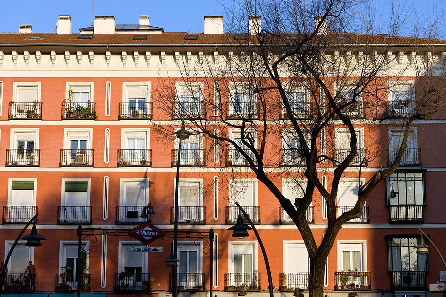 Facade Photograph - Tenement House Facade In Madrid by Artur Bogacki