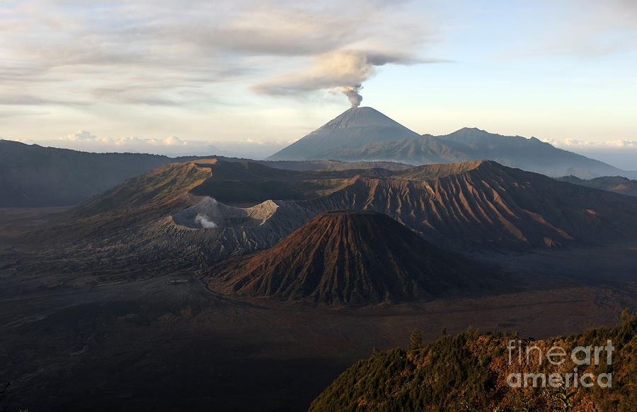 No People Photograph - Tengger Caldera With Erupting Mount by Martin Rietze