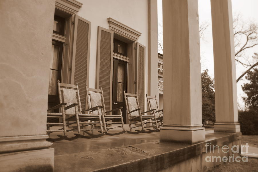 Sepia Photograph - Tennessee Plantation Porch by Carol Groenen