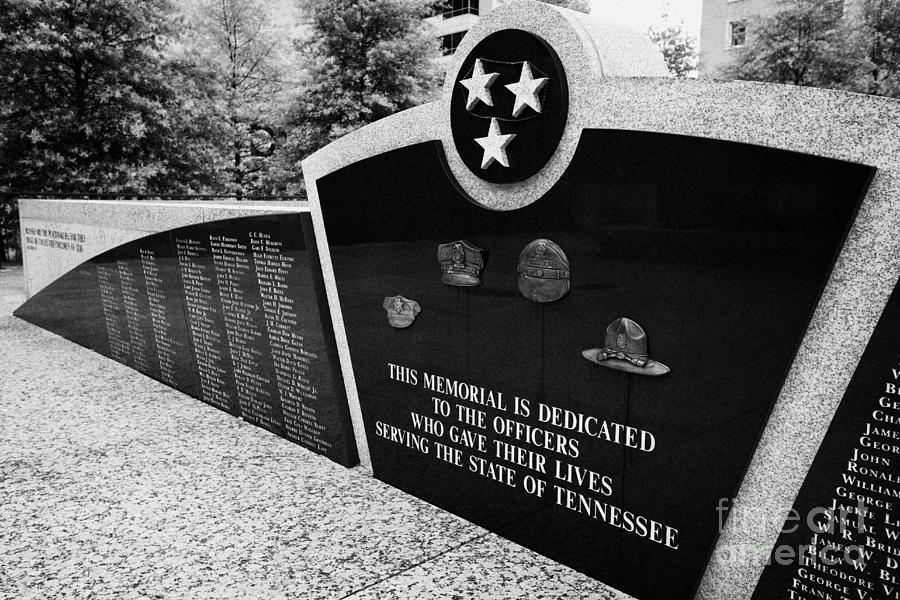 War Photograph - tennessee state police officer memorial war memorial plaza Nashville Tennessee USA by Joe Fox