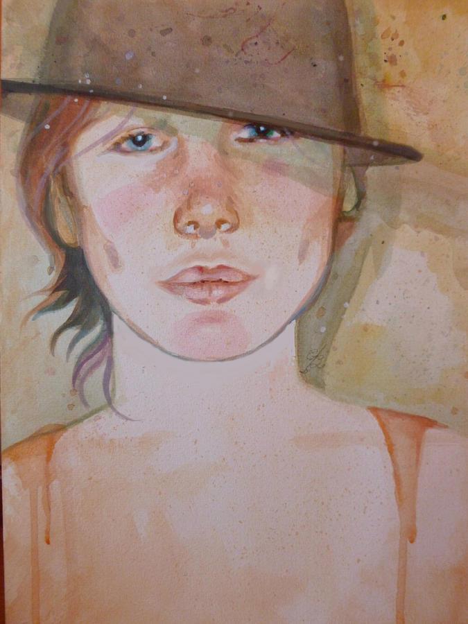 Watercolor Portrait Painting - Terra by Elaine Bawden