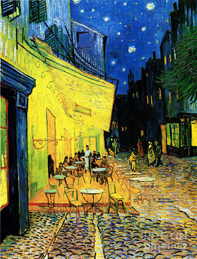 Reproduction Painting - Terrace Of The Cafe On The Place Du Forum In Arles In The Evening by Pg Reproductions