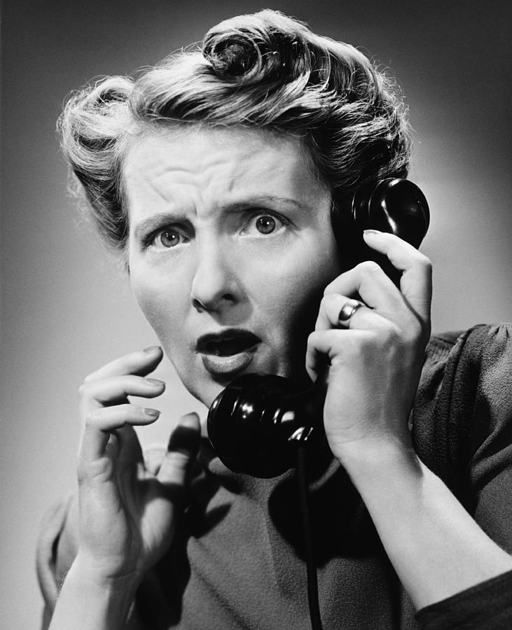 Adult Photograph - Terrified Woman Talking On Phone, (b&w), Portrait by George Marks