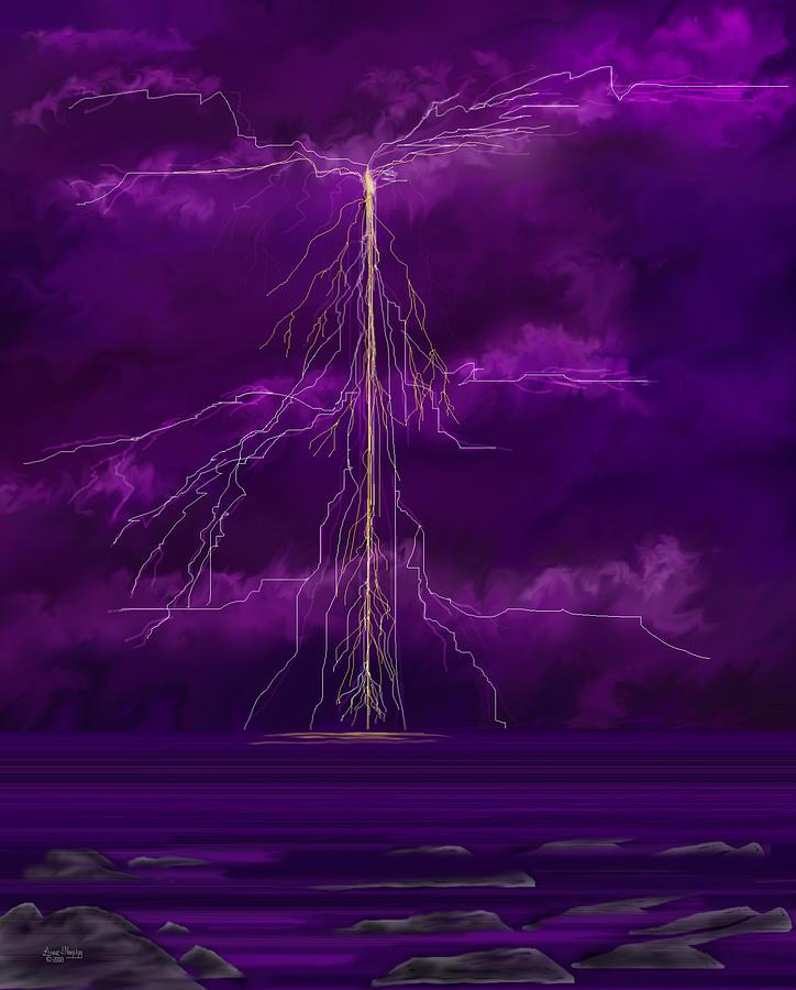 Lightning Storm Digital Art - Tesla by Anne V Norskog