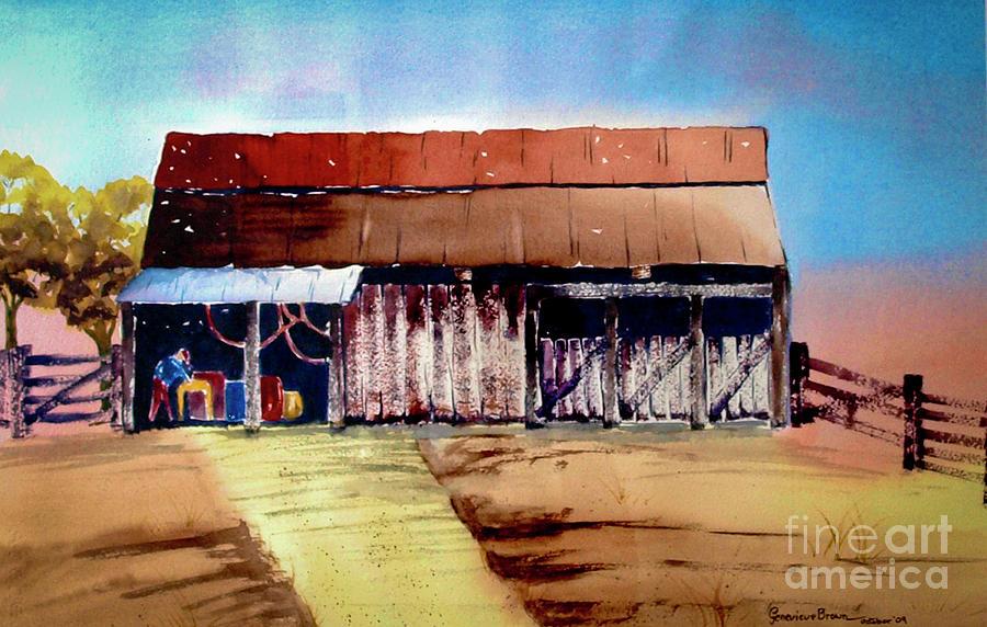 Texas Barn Painting - Texas Barn by Genevieve Brown