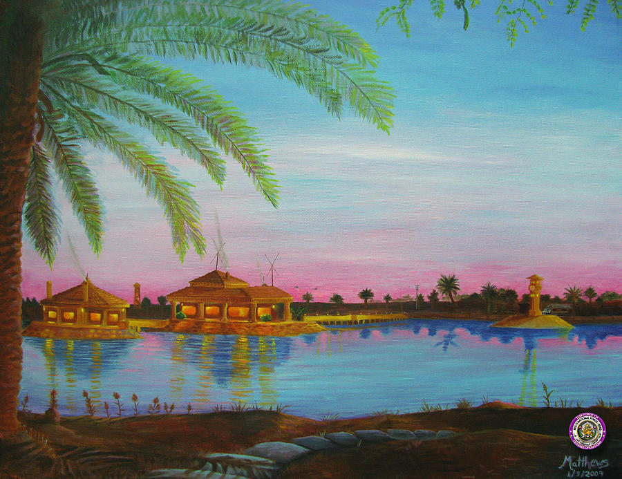 Iraq Painting - Tf 134 Headquarters With Fig Tree by Michael Matthews