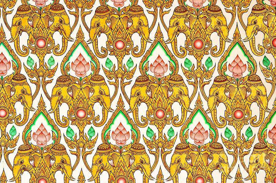 Thai Design Wallpaper : Thai pattern design painting by phalakon jaisangat