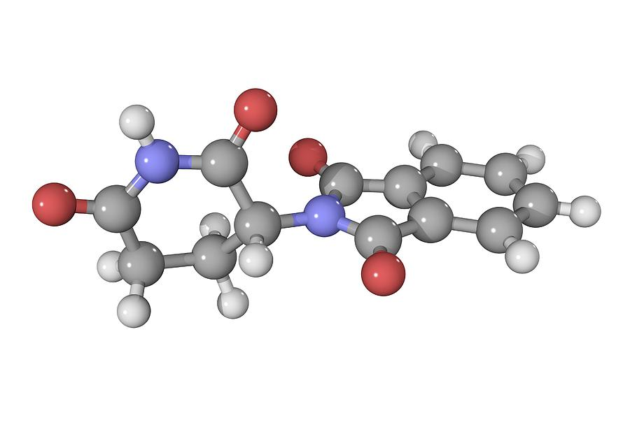 Ball And Stick Photograph - Thalidomide Drug Molecule by Laguna Design