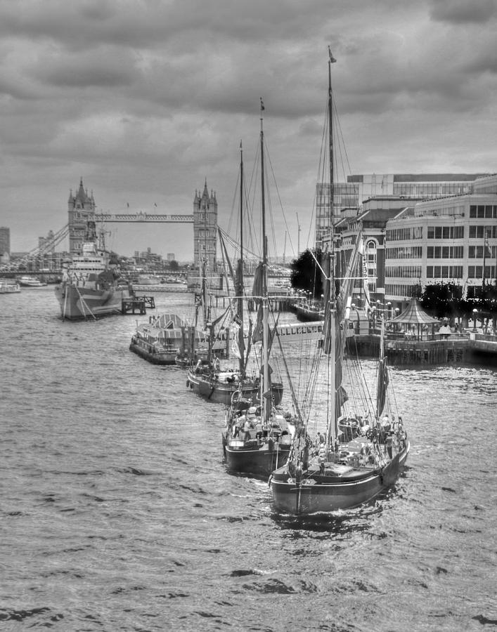 Thames Photograph - Thames Barges Tower Bridge 2012 by David French