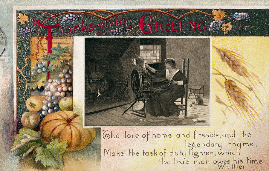1909 Photograph - Thanksgiving Card, 1909 by Granger