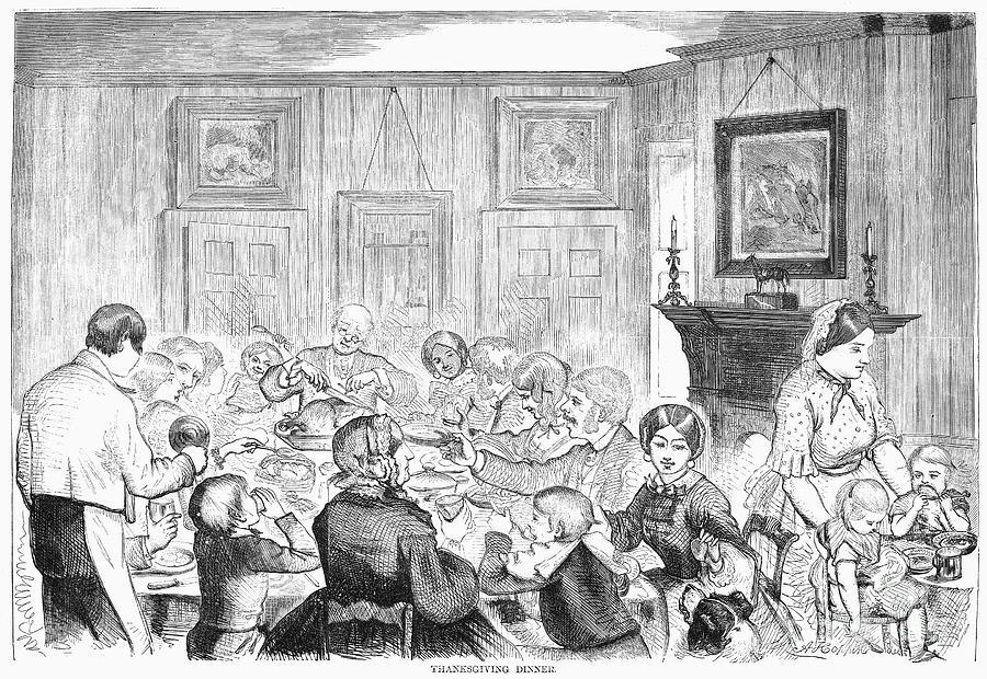 1857 Photograph - Thanskgiving Dinner, 1857 by Granger