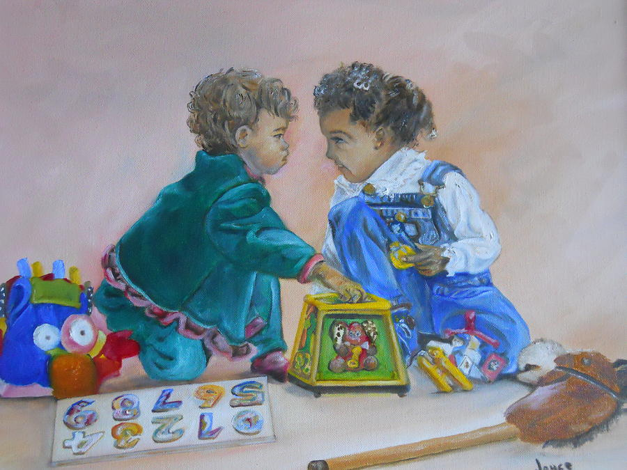 Children Painting - Thats Mine by Joyce Reid