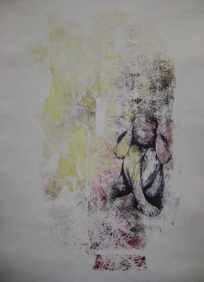 Monoprint Painting - Thats My Heart Down There by Tia Gillespie