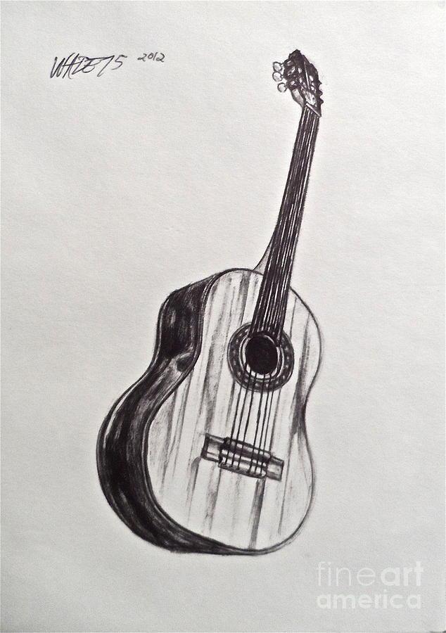 Guitar Drawing - The Acoustic Man by Wade Hampton